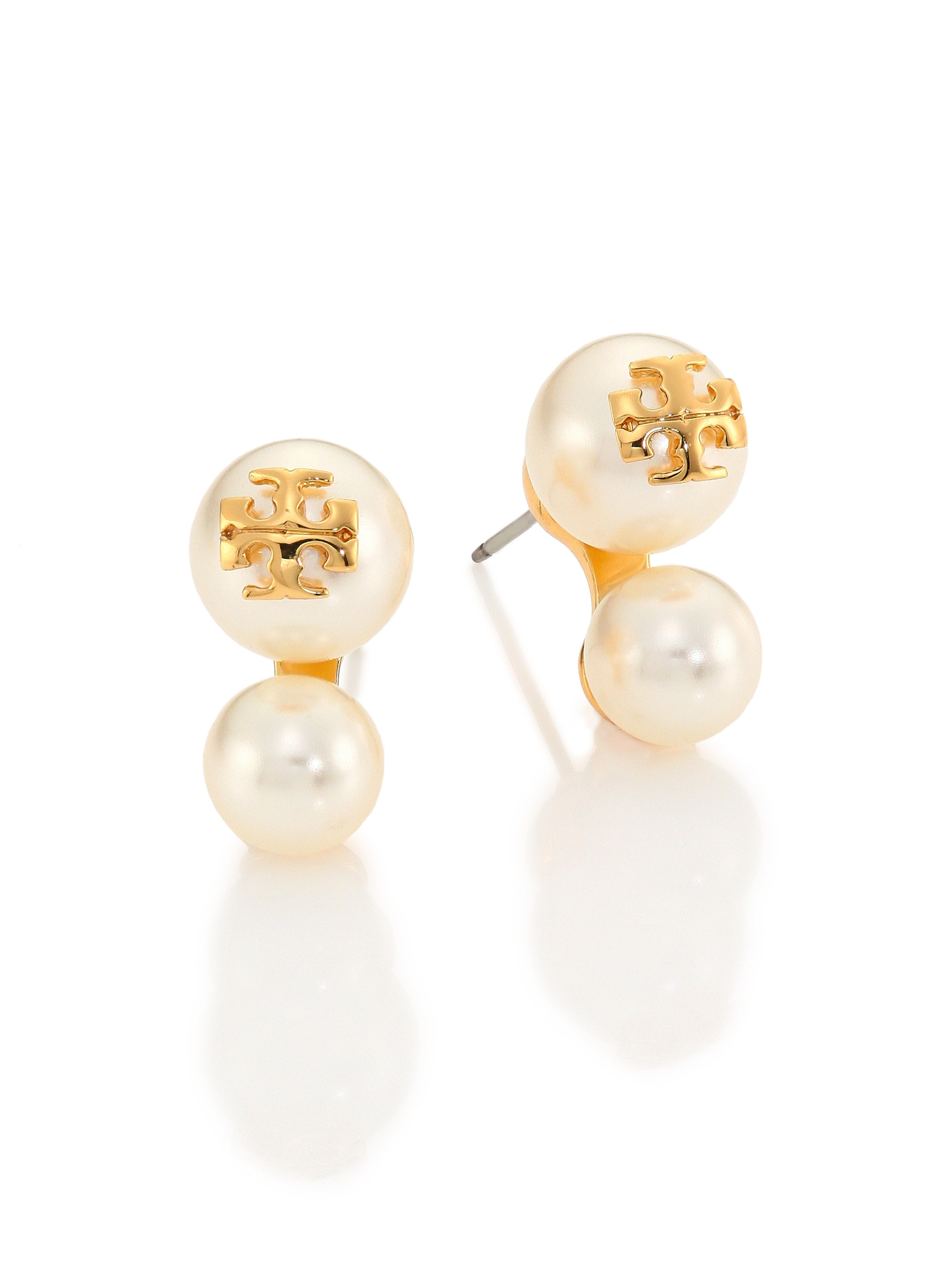 gold stud white pearl icing earrings bunny us ears faux