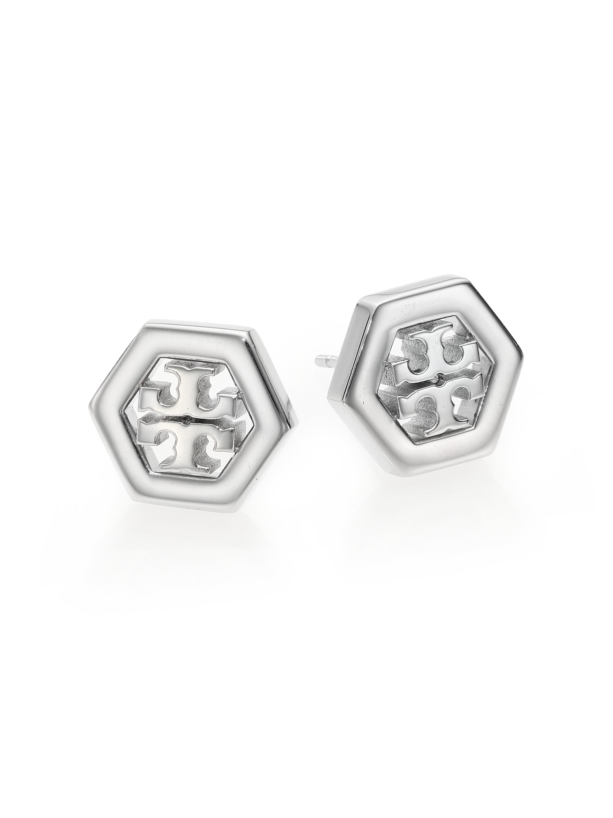 Tory Burch Hex Logo Stud Earrings Gold Rose And Silver